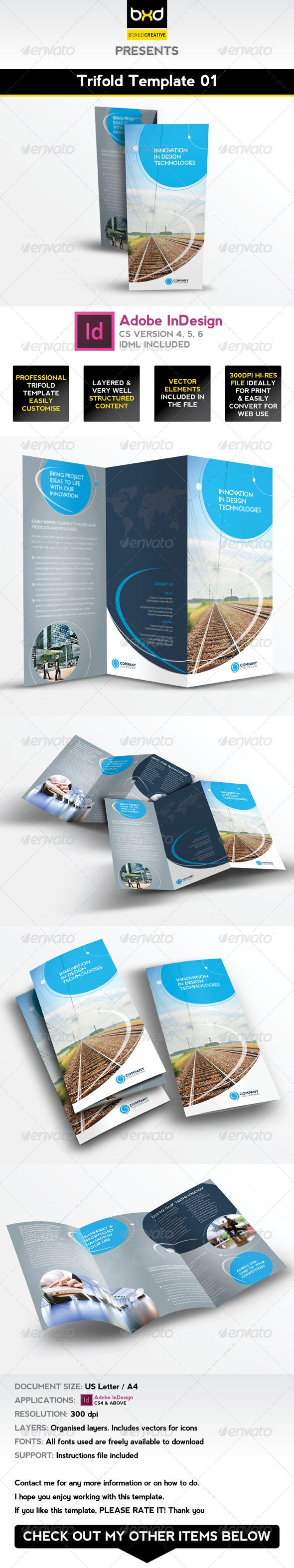 Trifold Brochure Template 01 - InDesign Layout | Herramientas