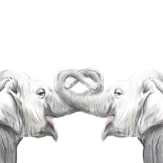 Elephant Painting - Elephant in Love - Art Print, original watercolor painting , valentines painting