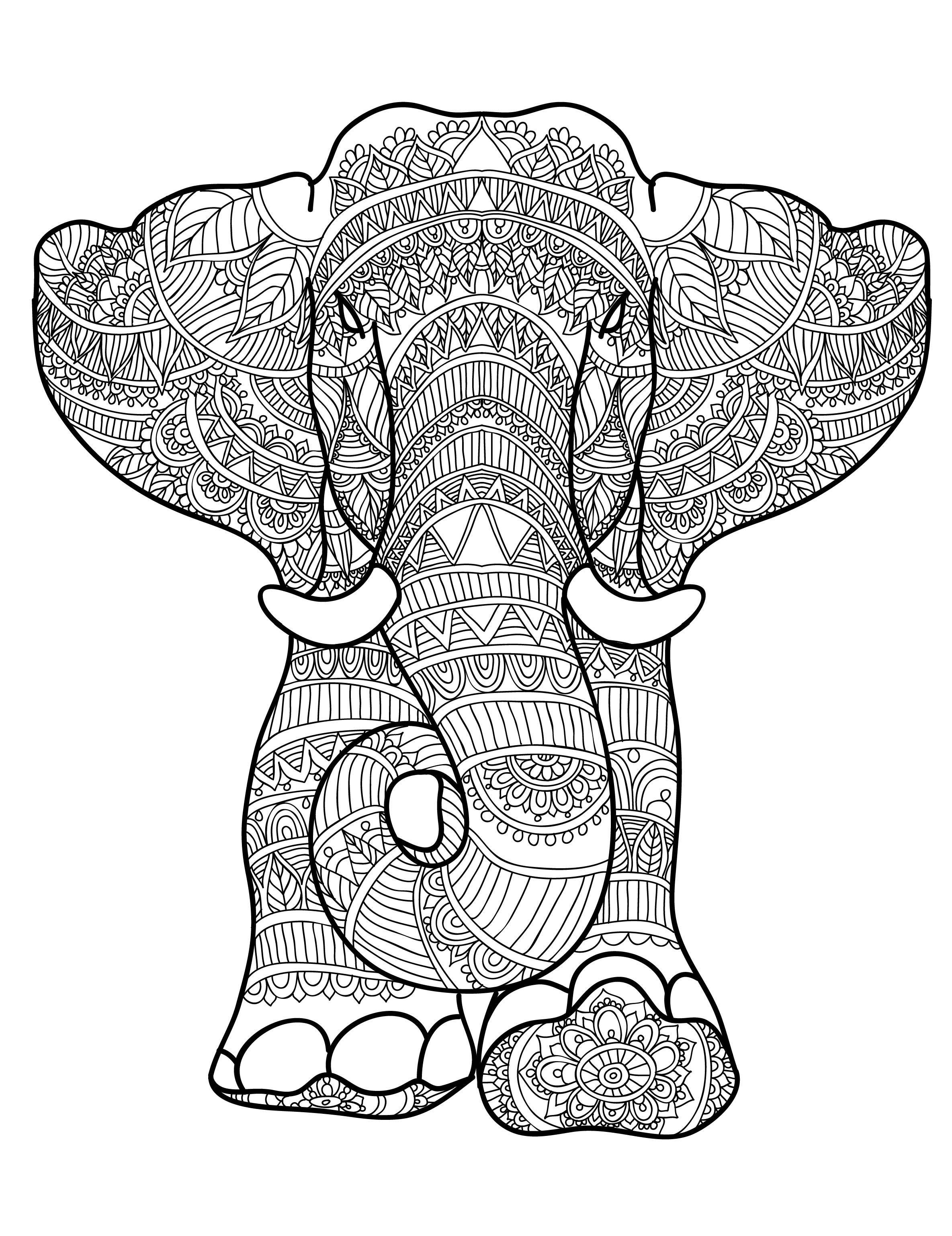 Beautiful Elephant Zentangle