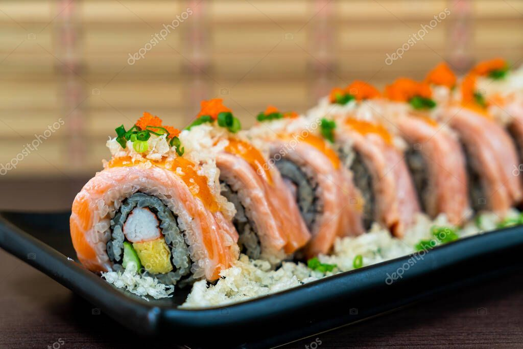 Grilled Salmon Sushi Roll Japanese Food Stock Photo Affiliate Sushi Roll Grilled Salmon Ad Salmon Sushi Grilled Salmon Sushi Rolls