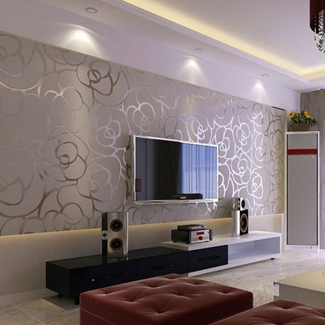 Room · resultado de imagen de modern living room with wall paper