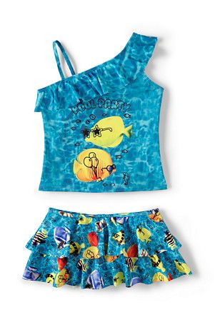 Girls' One shoulder Skirted Tankini