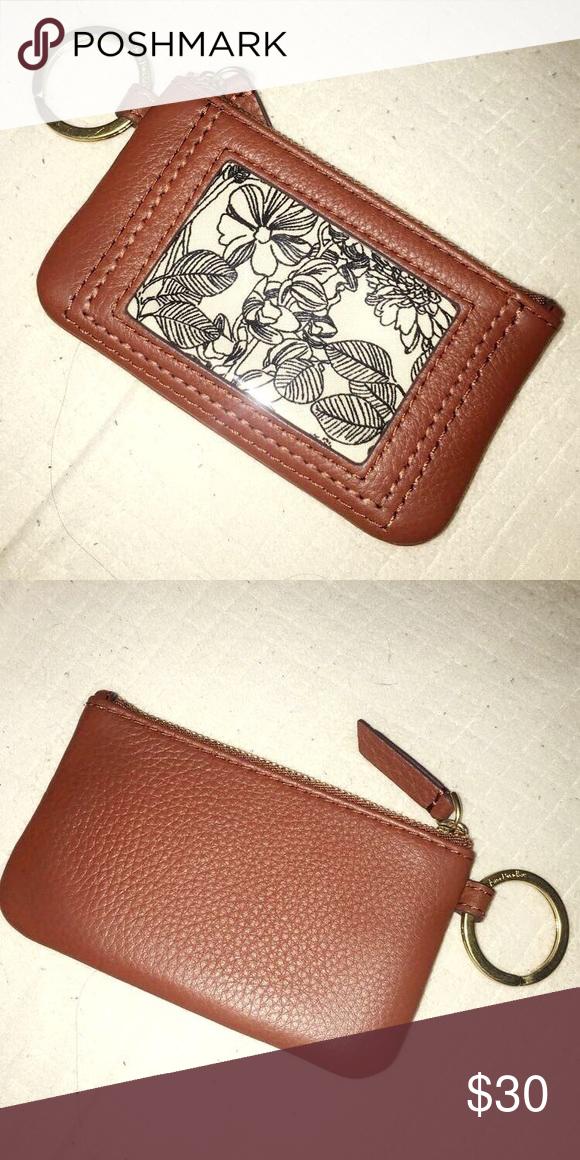 Vera Bradley Brown Cognac Leather Zip Id Wallet New Real Leather