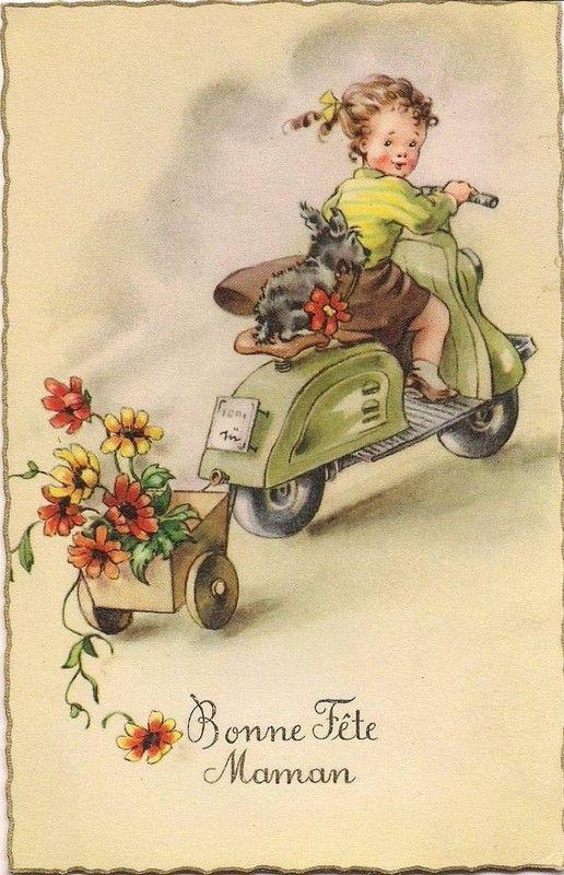 """Carte ancienne """"Bonne fête maman"""" : fillette en scooter et ..."""