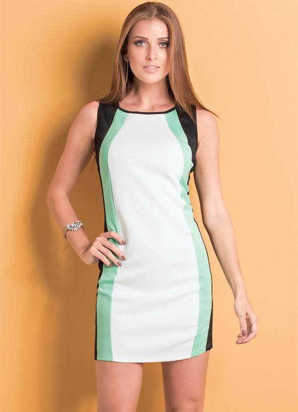 0feaea548 Vestido Ana Hickmann (Preto, Branco e Verde)   MULHER CLASSE A ...