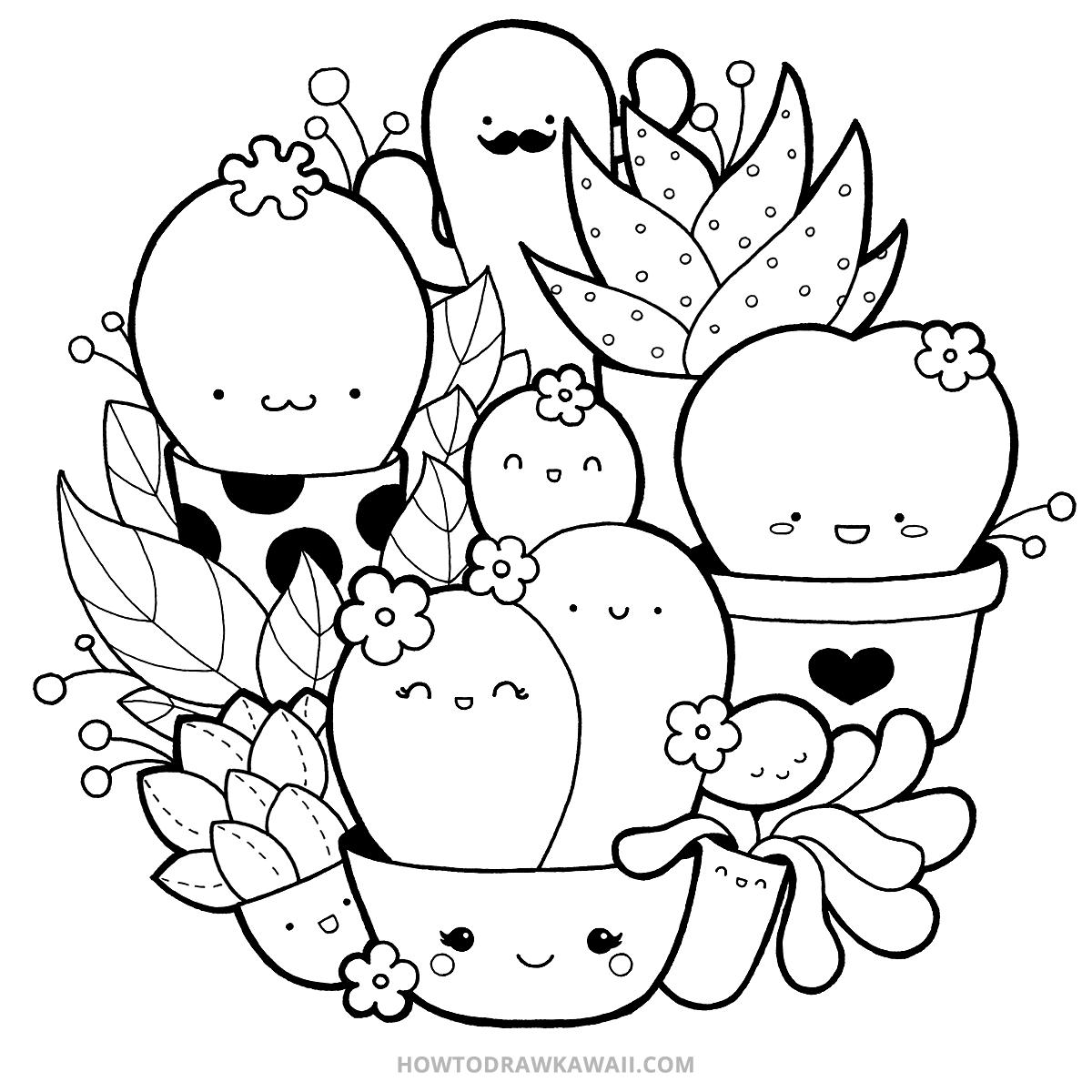 How To Draw Kawaii Succulents Kawaii Doodle Step By Step