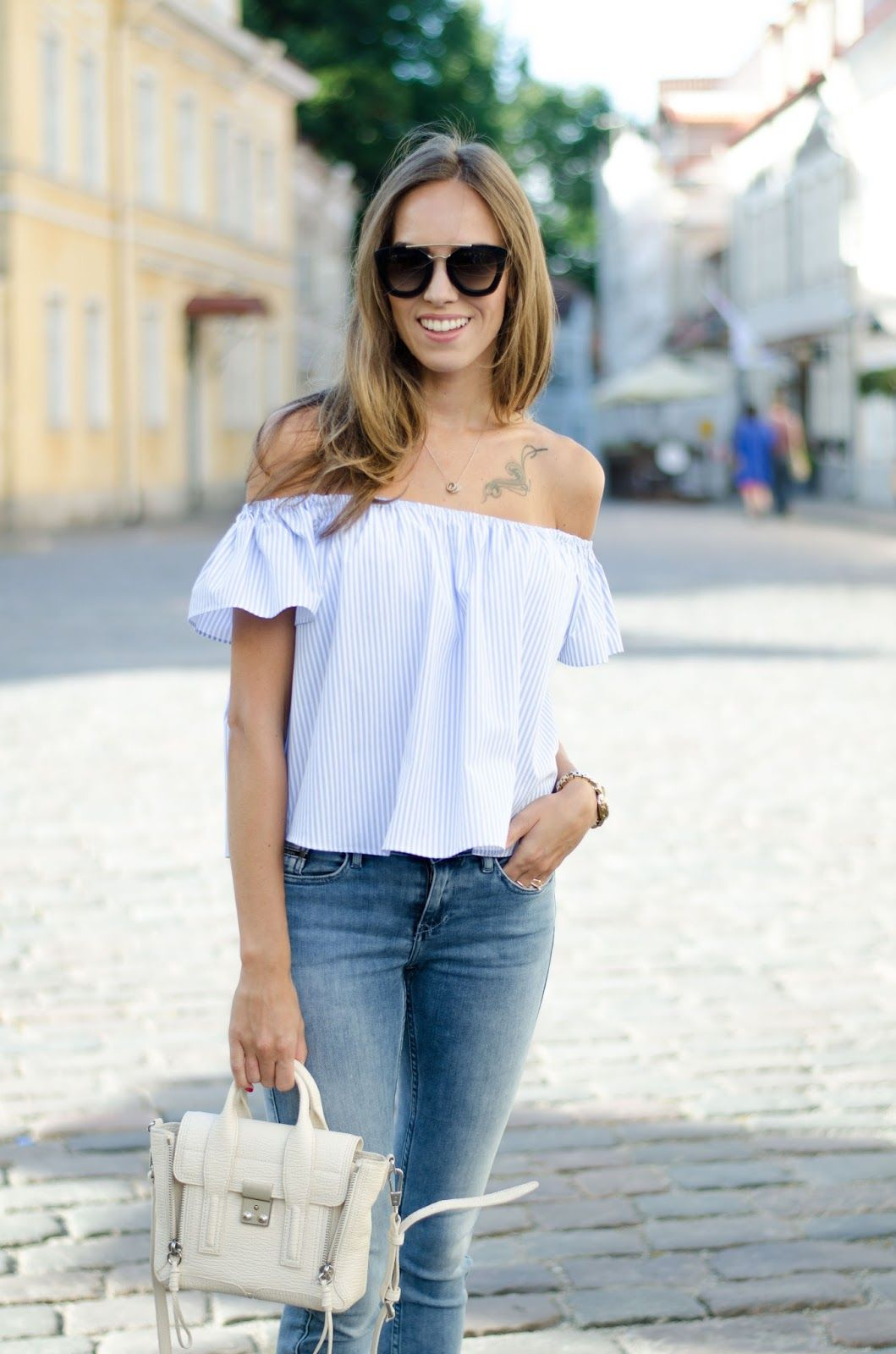 0fddd2bf2f9b kristjaana mere light blue off shoulder top summer outfit