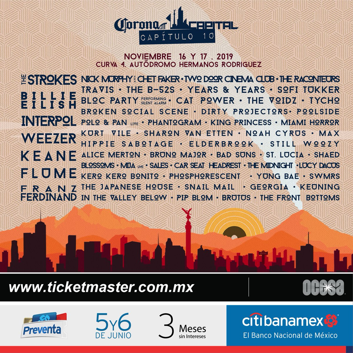 Coronacapital In Mexico Erdmusicpress Erpress Noticias News Festivales Shows Festival Broken Social Scene Autodromo Hermanos Rodriguez Festival Flyer