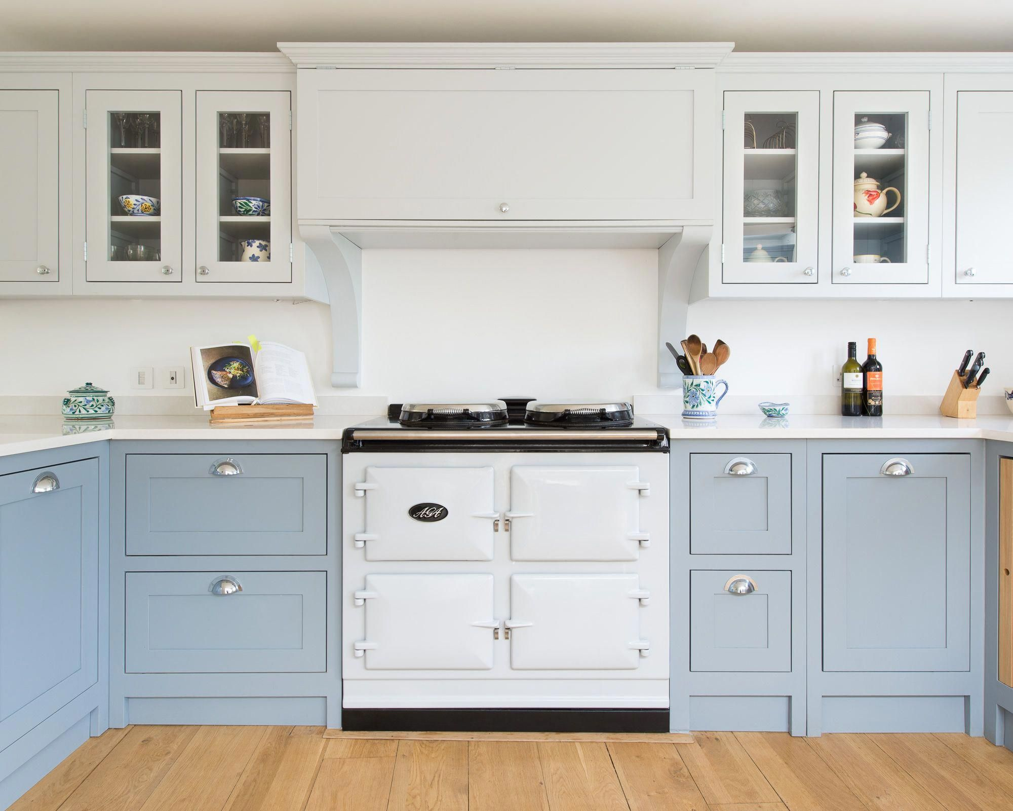 This Pretty Kitchen Is Hand Painted In Pale Blue And White The White Aga And Belf Shaker Style Kitchen Cabinets Custom Kitchen Cabinets Kitchen Cabinet Styles
