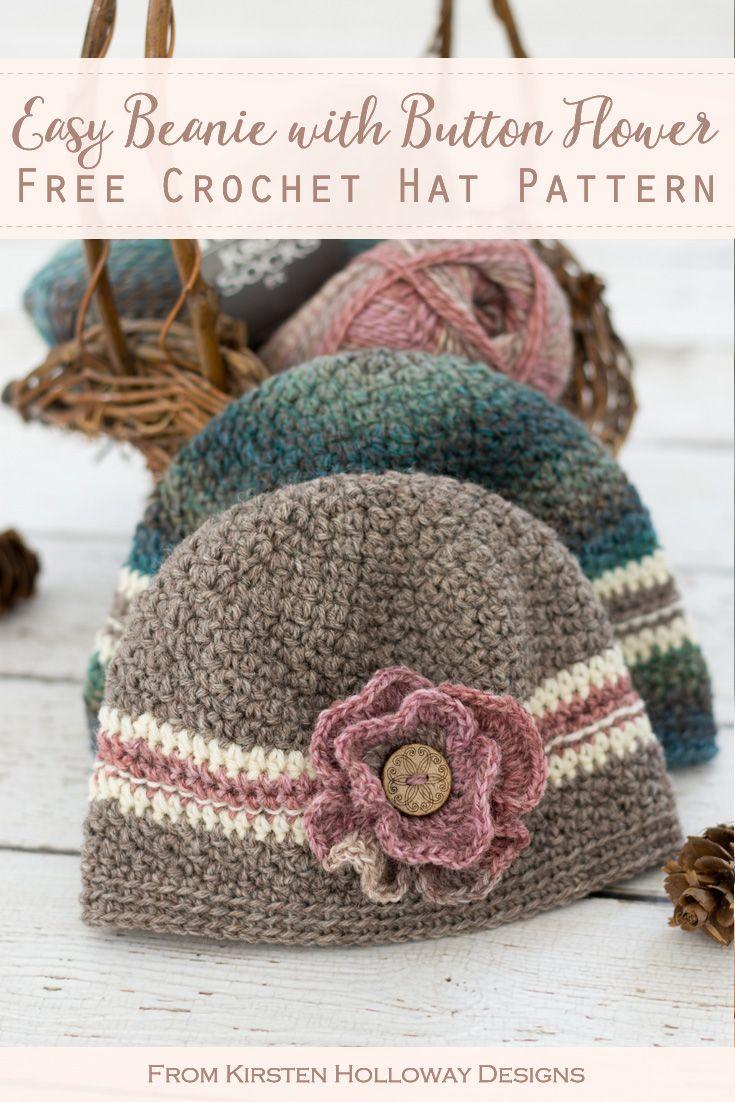 Easy Button Flower Beanie, Free Crochet Pattern in 5 Sizes – Kirsten Holloway Designs