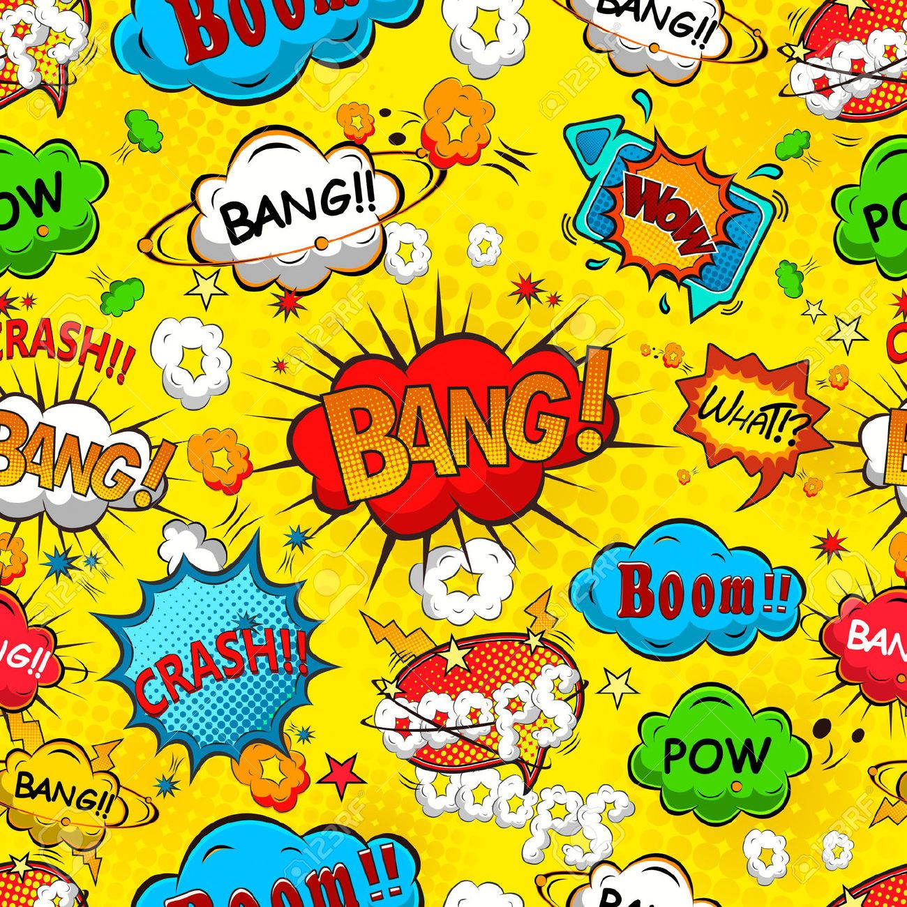 Comic Speech Bubbles Seamless Pattern Vector Royalty Free Cliparts ...