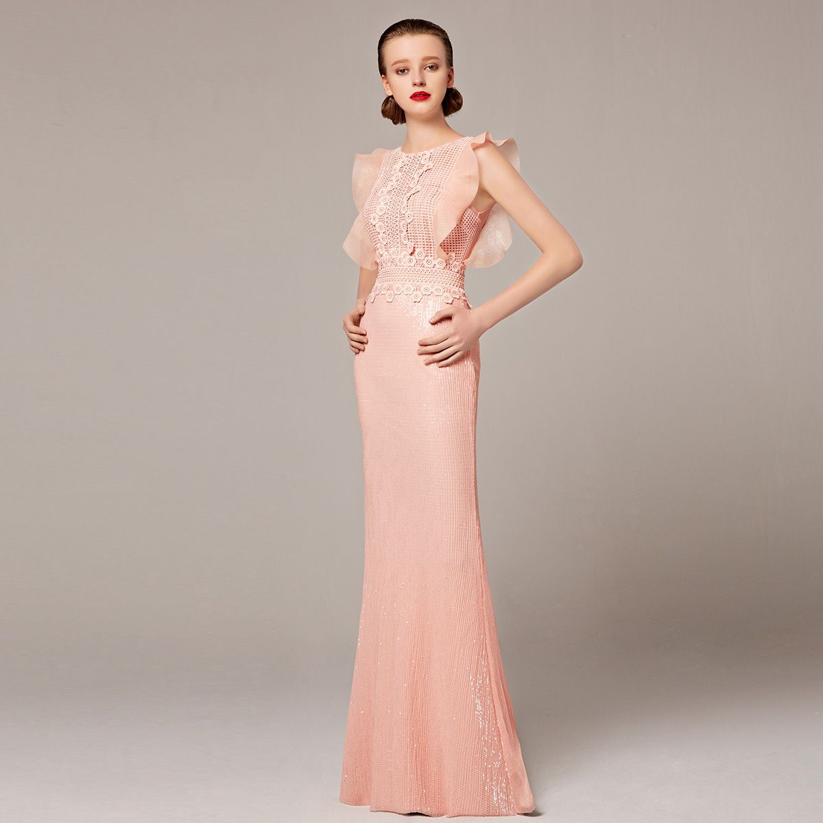Retro Collection 2016 Coniefox New Styles Sleeveless Sequins Pink Mermaid Prom…