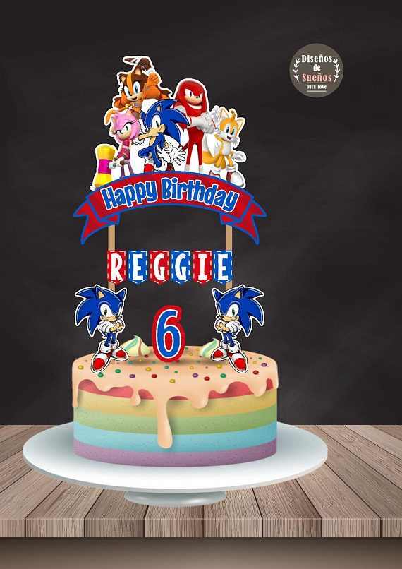Sonic Cake Topper Sonic Birthday Sonic Party Custom And Printable Sonic Cake Topper Sonic Video Game Banderin De Son Sonic Cake Sonic Birthday Sonic Party