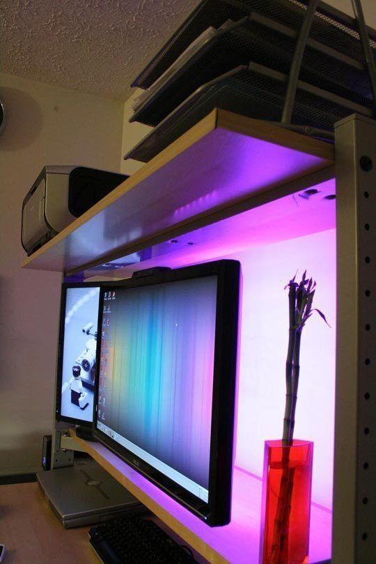 Using LED Lighting Behind Workstation Monitors