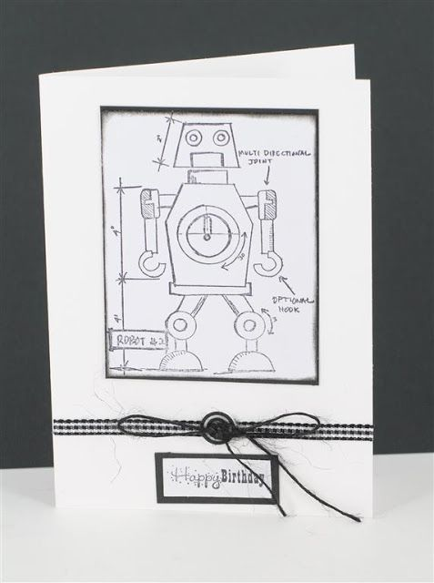 Robot card using tim holtz blueprint stamp and craft queen ribbon robot card using tim holtz blueprint stamp and craft queen ribbon craftqueen malvernweather Gallery