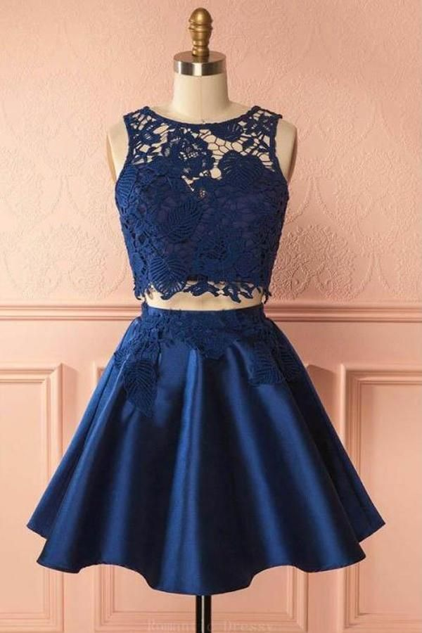 04c37202cc Navy Blue Two Piece Lace Homecoming Dresses Cheap Short Prom Dress ...