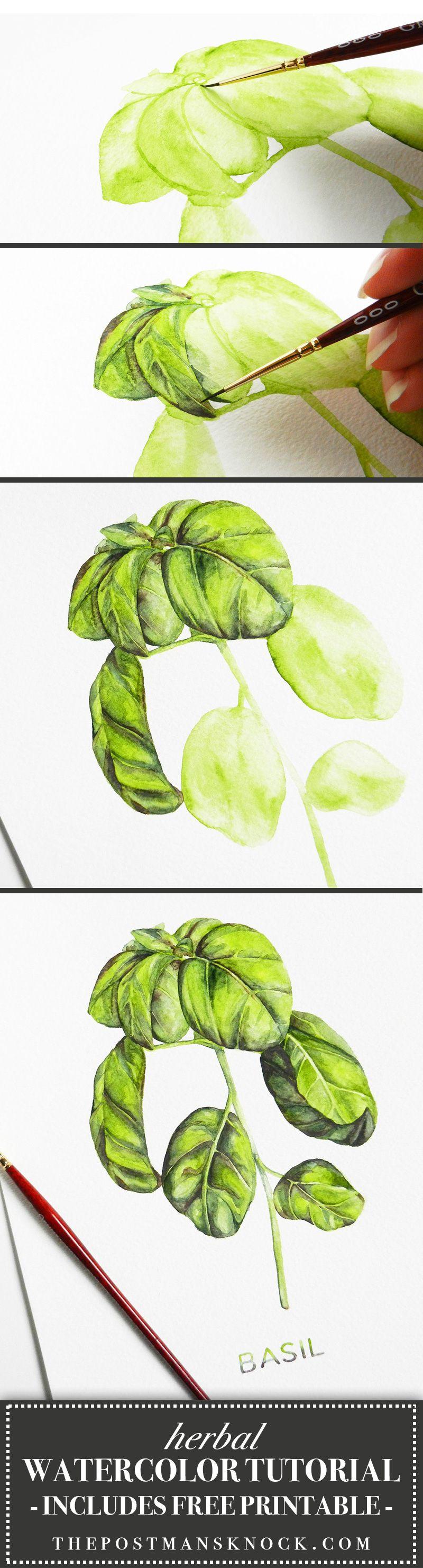 Herbal watercolor tutorial a free printable beautiful