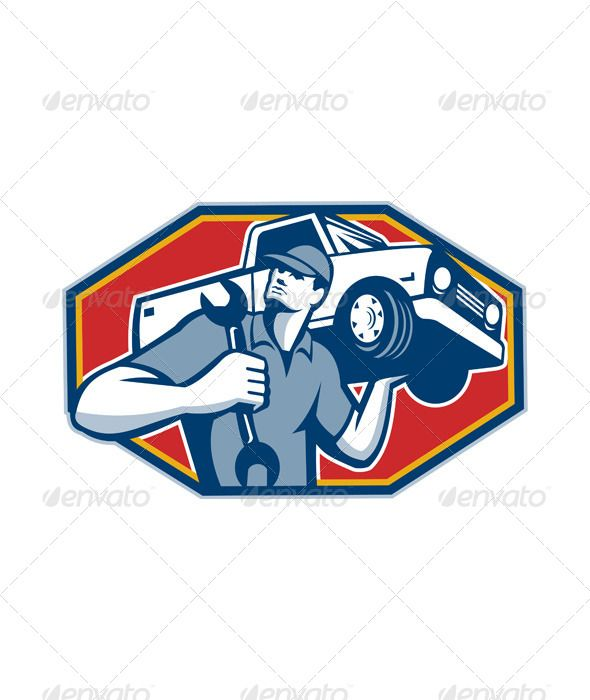 automotive mechanic car repair retro vector program font logo and rh pinterest co uk Auto Body Repair Logos Auto Repair Logo Design Retro