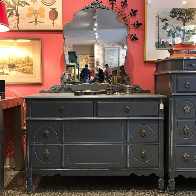 Grey French Provincial Dresser With Attached Mirror Shabby Chic Dresser Shabby Chic Bedrooms French Provincial Dresser