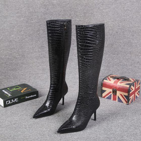 Fashion Black Winter Street Wear Alligator Print Mid Calf Womens Boots 2021 Leather 8 Cm Stiletto Heels Pointed Toe Boots In 2020 Pointed Toe Boots Womens Boots Stiletto Heels