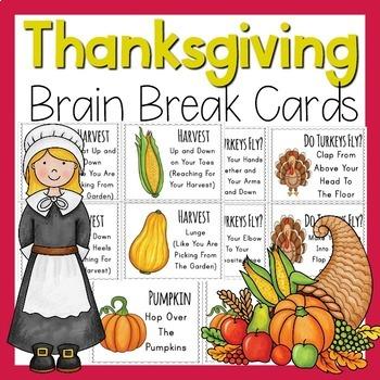 Thanksgiving Brain Breaks Brain Break Cards In 2020 Brain Breaks Thanksgiving Gross Motor
