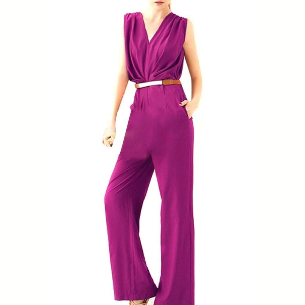Amazon.com: Hee Grand Womens Deep V Casual Sleeveless Long Jumpsuit Rompers: Clothing