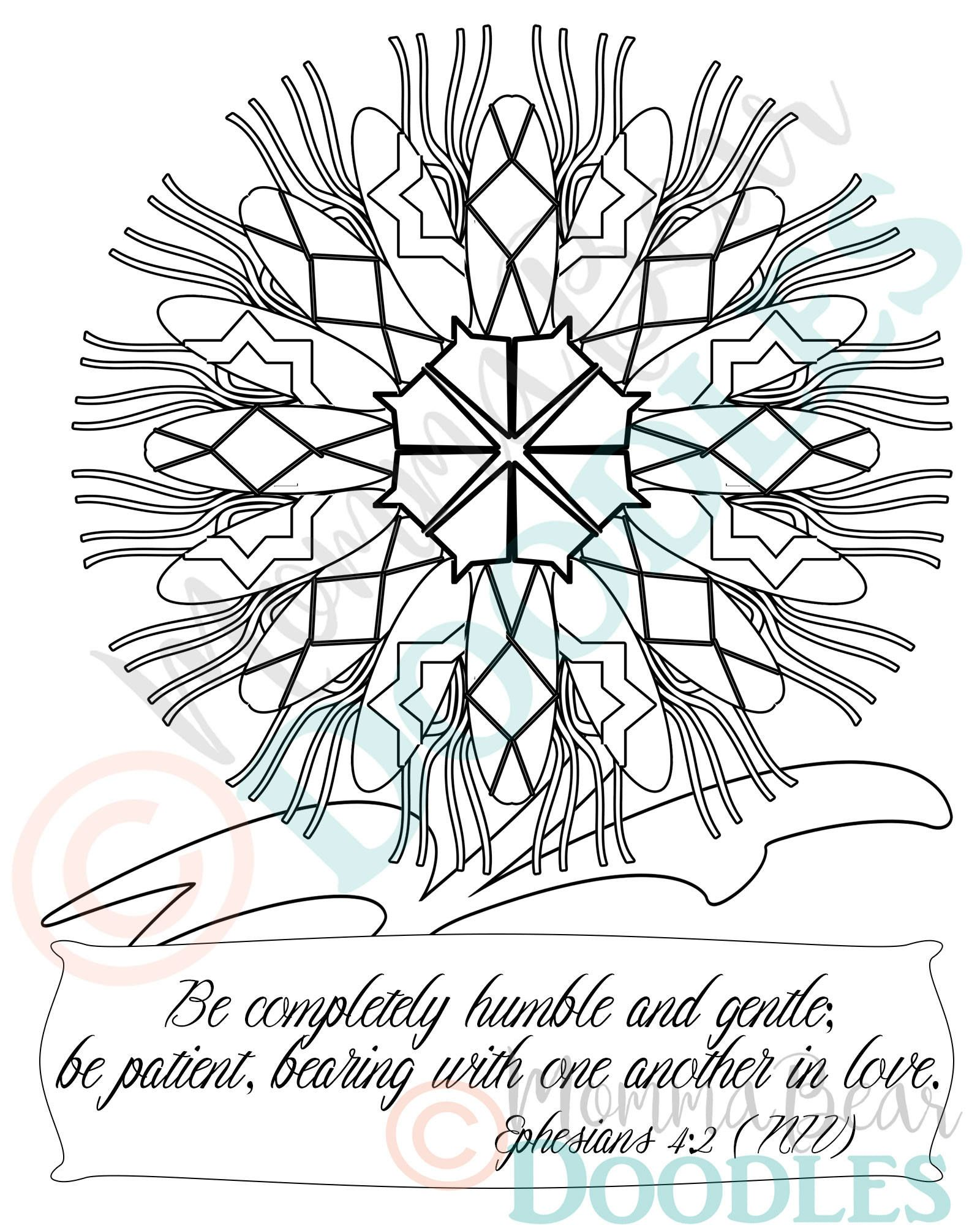 Scripture coloring page flower ephesians 42 printable page pdf download