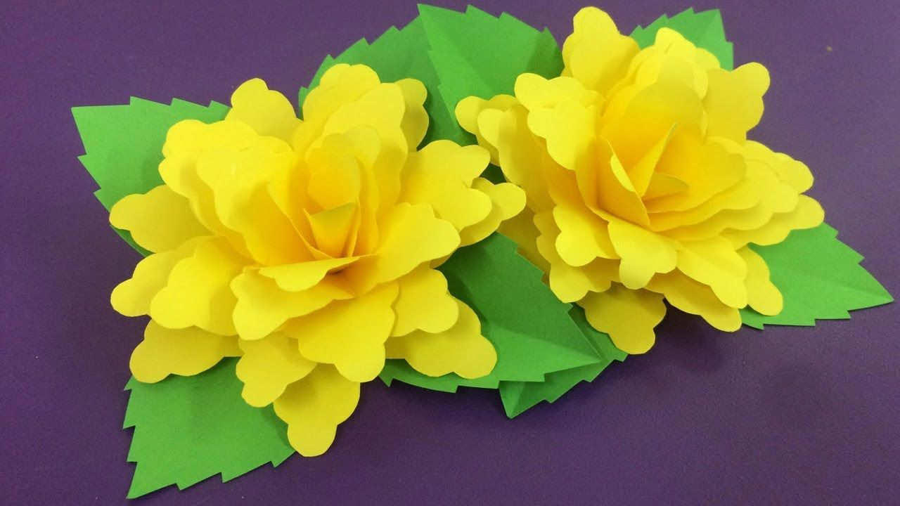 How To Make Yellow Paper Flower Making Paper Flowers Step By Step