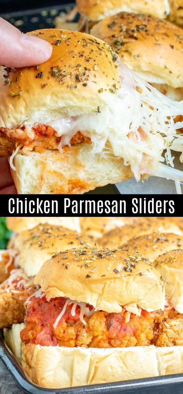 Chicken Parmesan Sliders #footballpartyfoodappetizers
