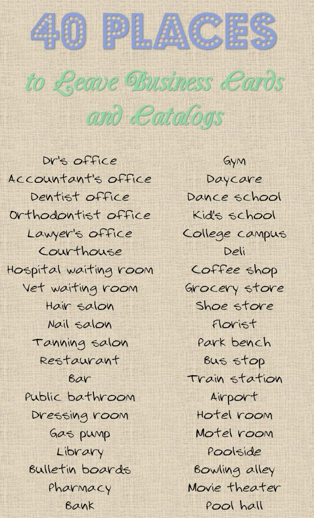 40 Places to Leave Your Business Card or Catalog | Cards, Business ...