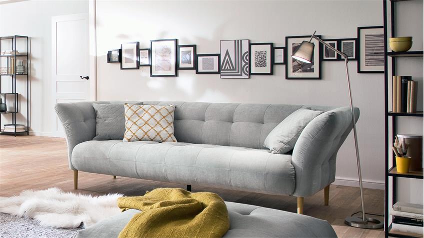 3 Sitzer Big Apple Sofa Couch Polstersofa In Stoff Silber Grau 240 Cm Sofa Couch Sofa 3er Sofa