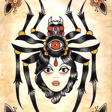 0ef58e019 Traditional Spider Girl Tattoo Design | fbdfj | Girl tattoos, Tattoo ...
