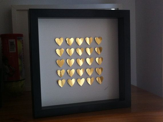 3d Paper Hearts Gold Heart Home Decoration St By Gosiaandhelena 25 00 With Images Personalized Wedding Anniversary Gift Paper Hearts Heart Wedding
