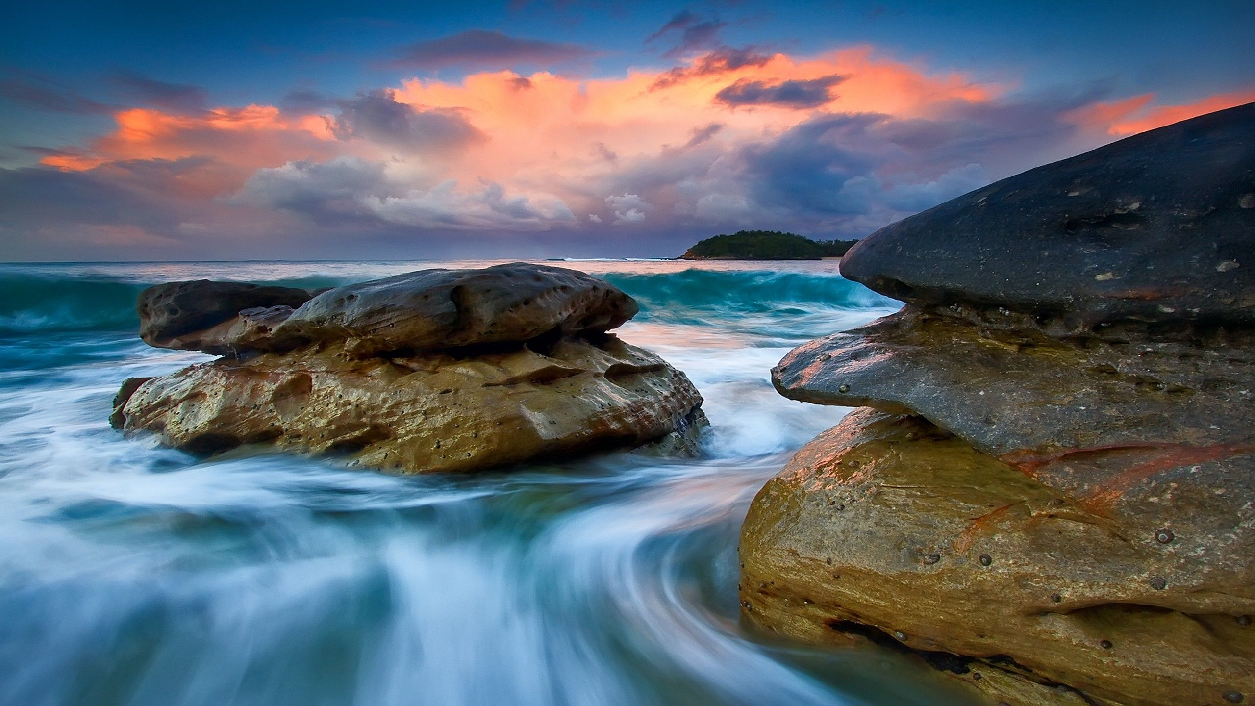 Tide High Beautiful Time Lapse Water Flow Rocks Pictures Hdr Photography Sunset Wallpaper Beach Rocks