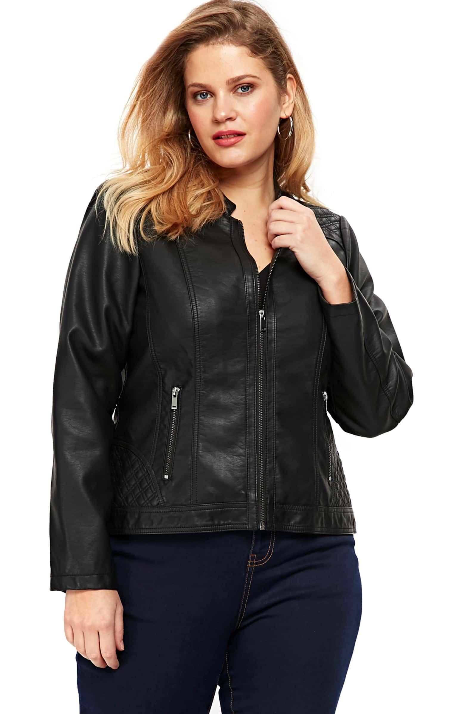 Evans Faux Leather Biker Jacket (Plus Size Jackets