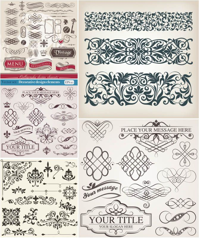"""Collection of decorative vector ornaments, swirls, floral borders, vintage patterns and classic embellishments for your designs. Format: Ai or EPS stock vector clip art. Free for download. Vector set name: """"Swirls and ornaments"""". Theme tags: vector ornaments, design elements."""