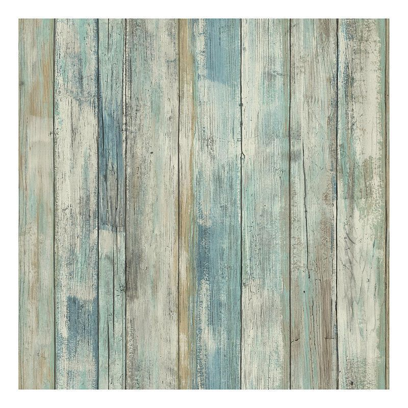 Roommates Faux Distressed Wood Peel Stick Wallpaper Wall Decal Blue In 2020 How To Distress Wood Distressed Wood Wall Distressed Wood Wallpaper