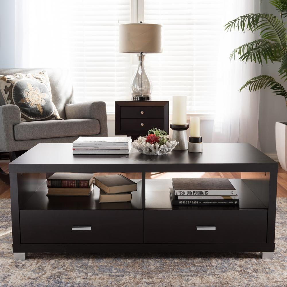 Baxton Studio Derwent 47 In Dark Brown Large Rectangle Wood Coffee Table With Drawers 28862 3819 Hd The Home Depot Coffee Table Coffee Table With Drawers Coffee Table Wood [ 1000 x 1000 Pixel ]