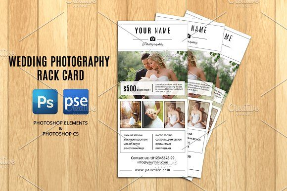 Wedding Photographer Rack CardV By Template Shop On