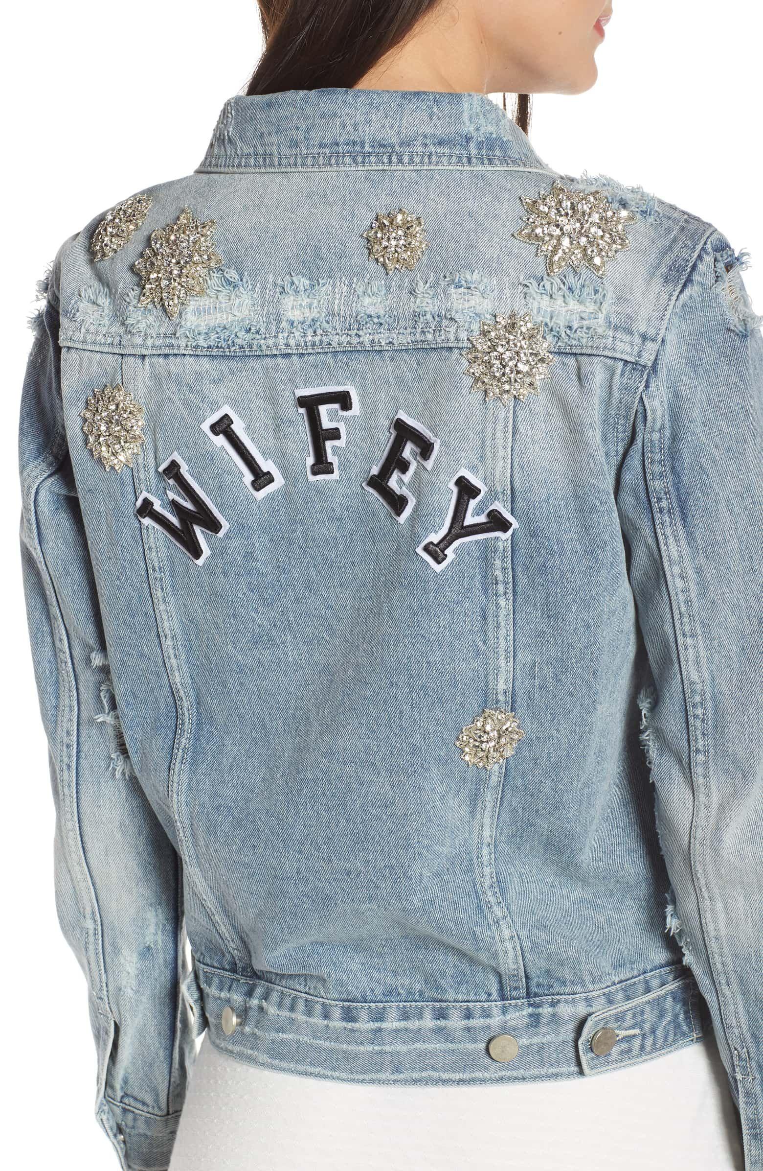 Chosen By One Day Wifey Embellished Denim Jacket Nordstrom Embellished Denim Denim Jacket Embellished Denim Jacket [ 2392 x 1560 Pixel ]