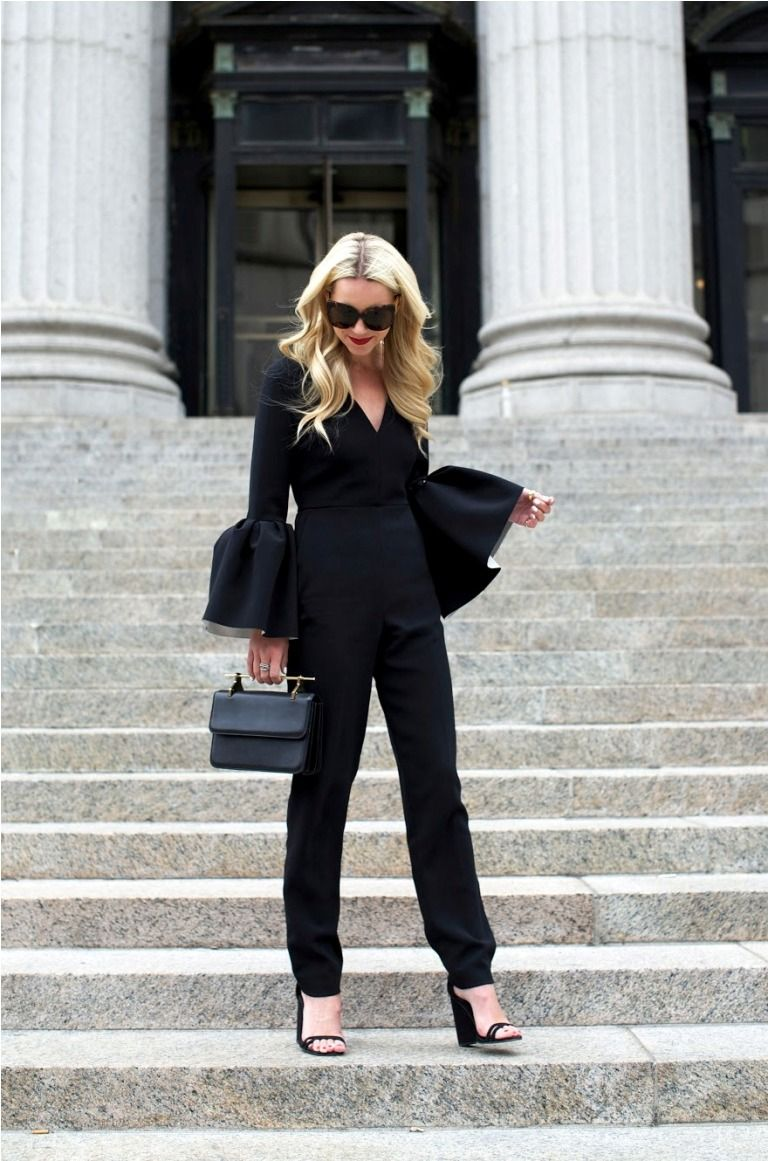 black bell sleeved jumpsuit
