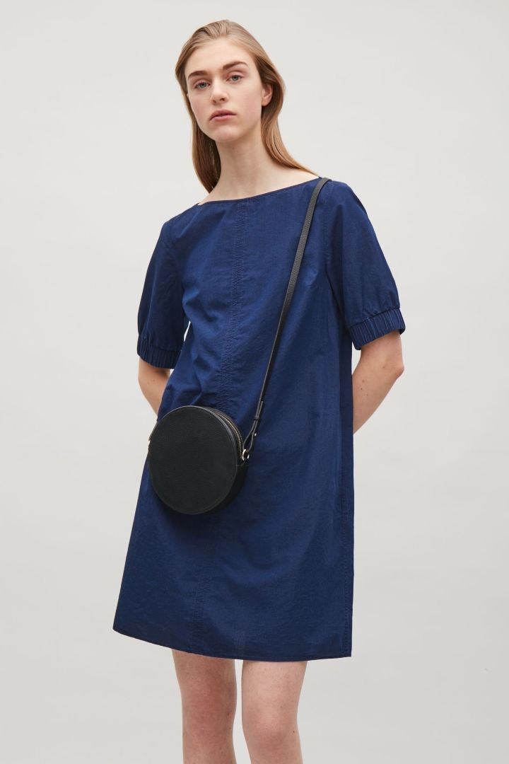 COS image 2 of Dress with elastic sleeves in Blue
