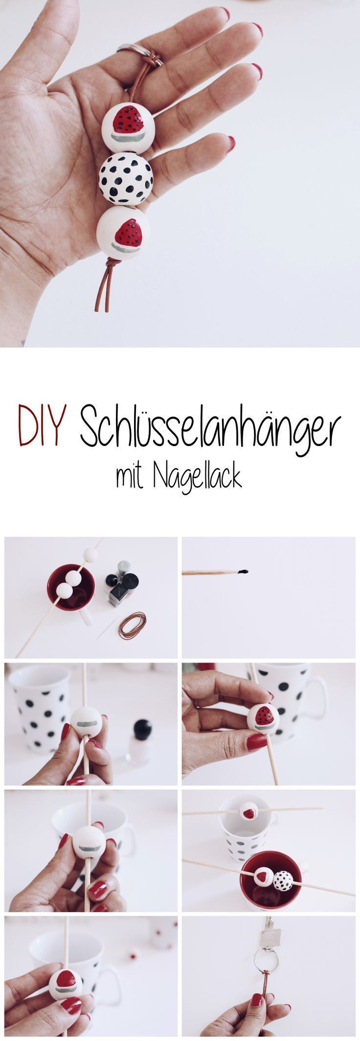 diy schl sselanh nger mit nagellack selber machen. Black Bedroom Furniture Sets. Home Design Ideas