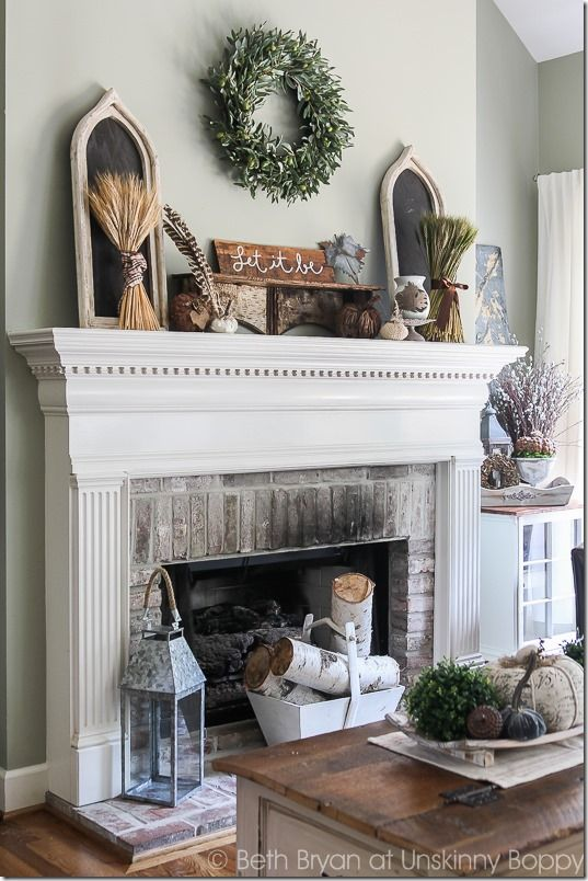 Fall Mantel decorating idea with birch logs wheat bundles and olive wreath. & Fall Mantel decorating idea with birch logs wheat bundles and olive ...
