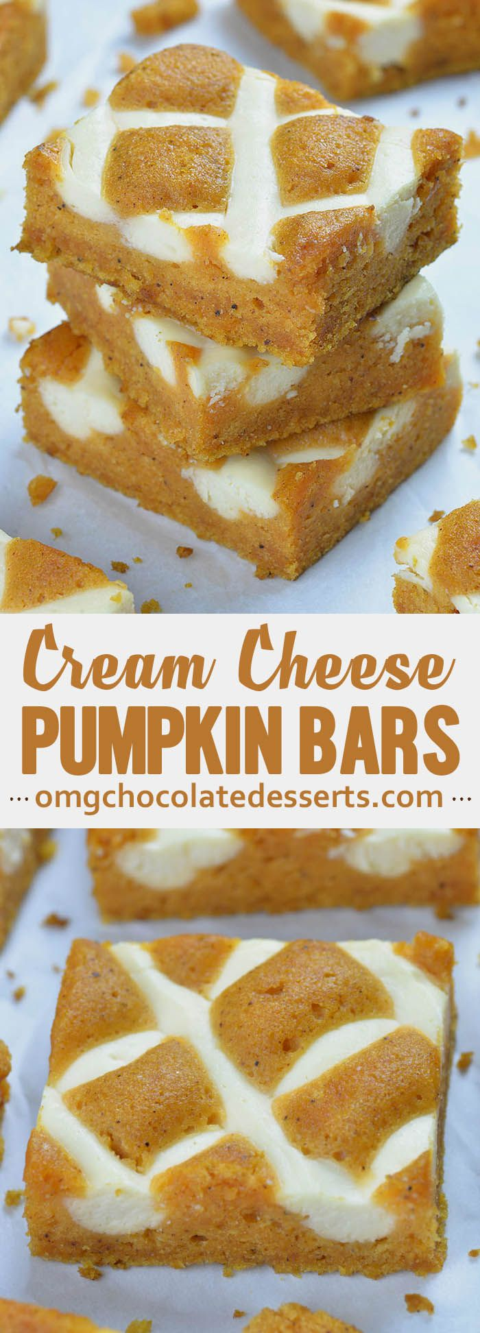 Pumpkin Bars with Cream Cheese #fallfoods