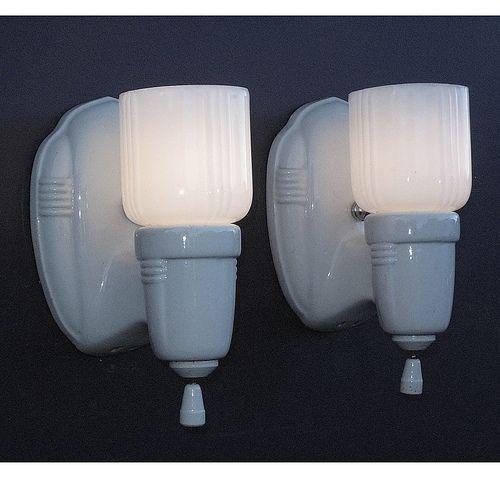 Vintage White Porcelain Wall Sconces