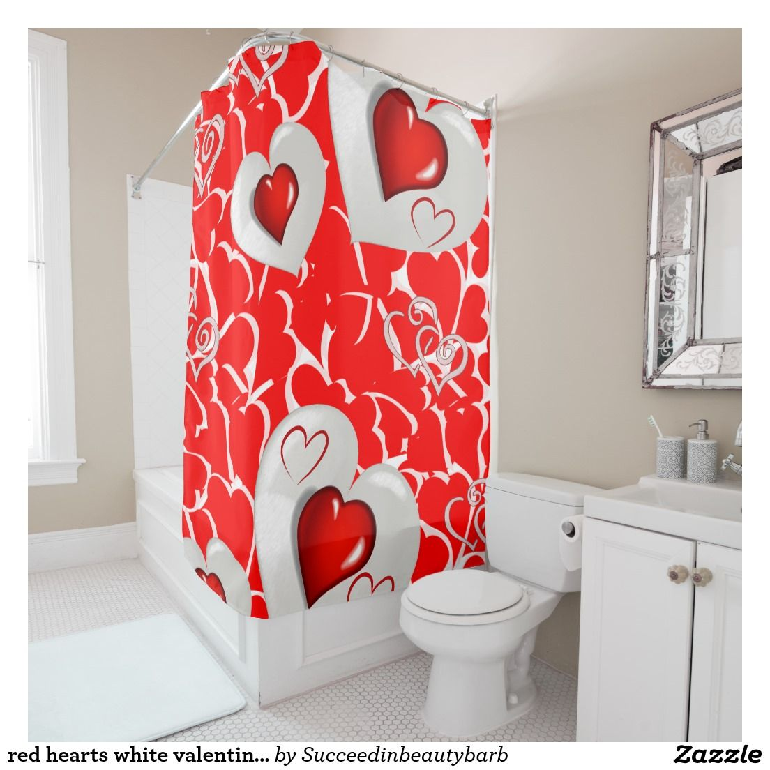 Red Hearts White Valentines Day Shower Curtain