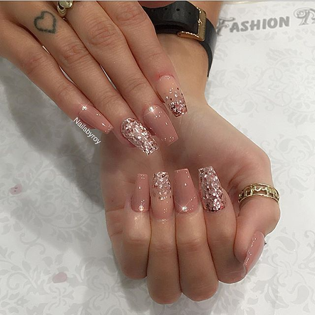 Mix & match nude & rose gold for @michellelisa____ - Mix & Match Nude & Rose Gold For @michellelisa____ Nails