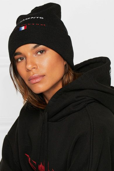 + Reebok Embroidered Wool Beanie - Black VETEMENTS pgY7igZHbs