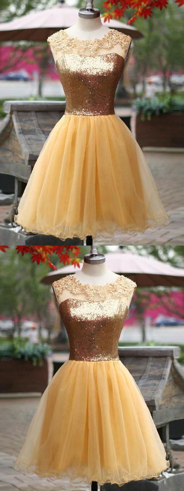 Sleeveless yellow party homecoming dresses absorbing short aline